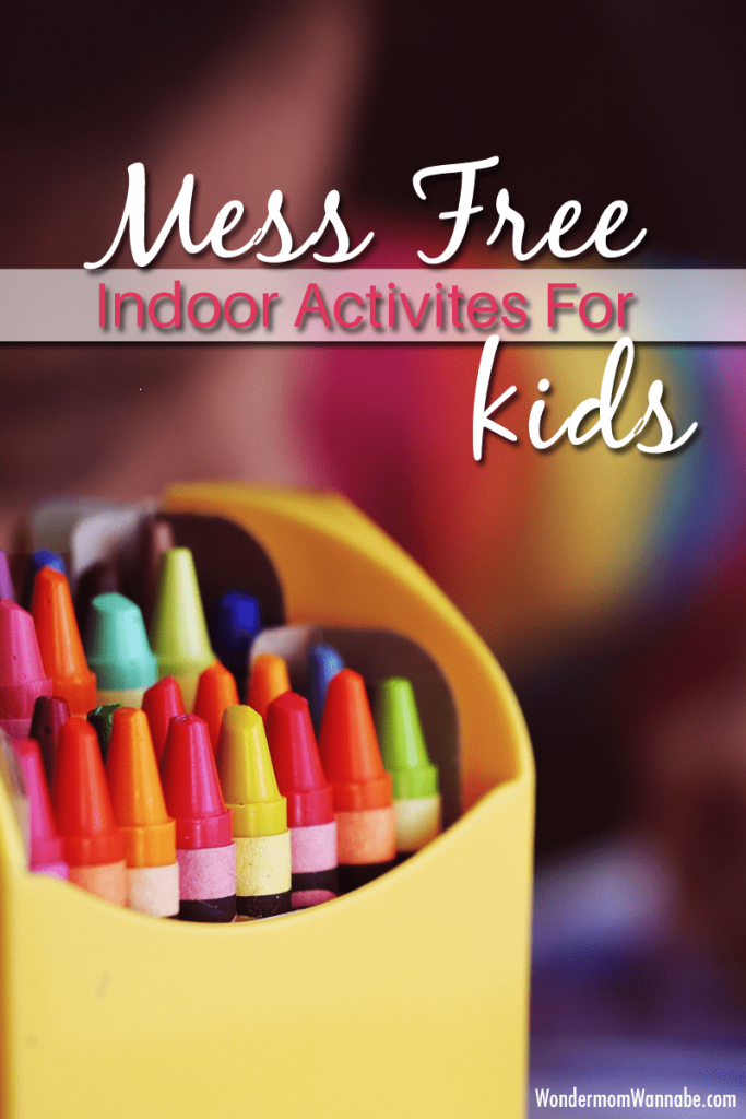 a box of crayons with title text reading Mess Free Indoor Activities For Kids