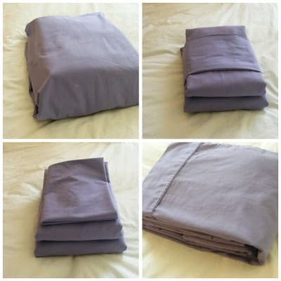 a collage of four different ways to fold sheets