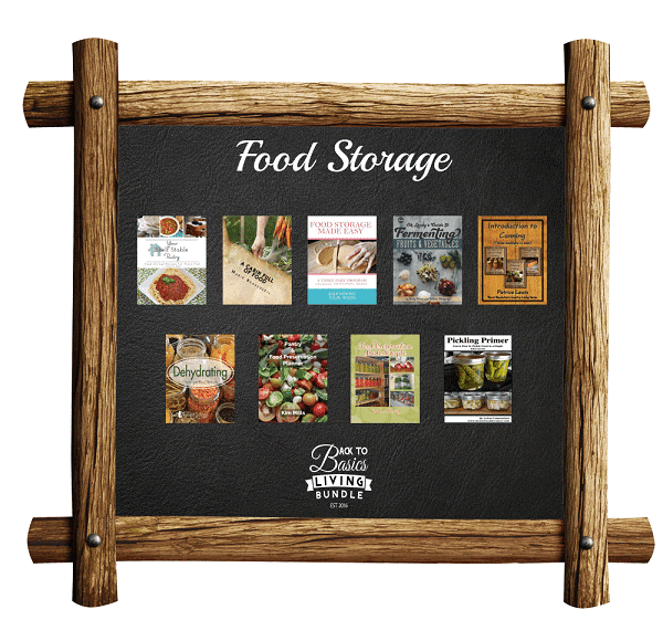 a collage of products available in the Food Storage section of the Back to basics living bundle