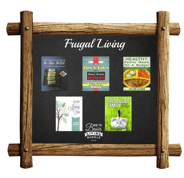 a collage of products available in the Frugal Living section of the Back to basics living bundle