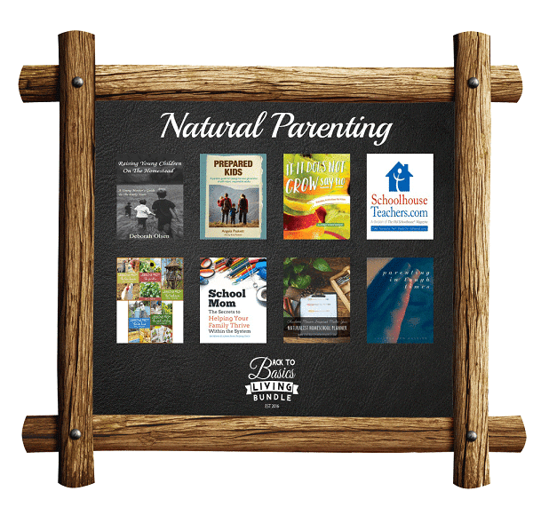 a collage of products available in the Natural Parenting section of the Back to basics living bundle