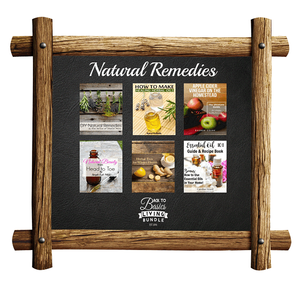 a collage of products available in the Natural Remedies section of the Back to basics living bundle