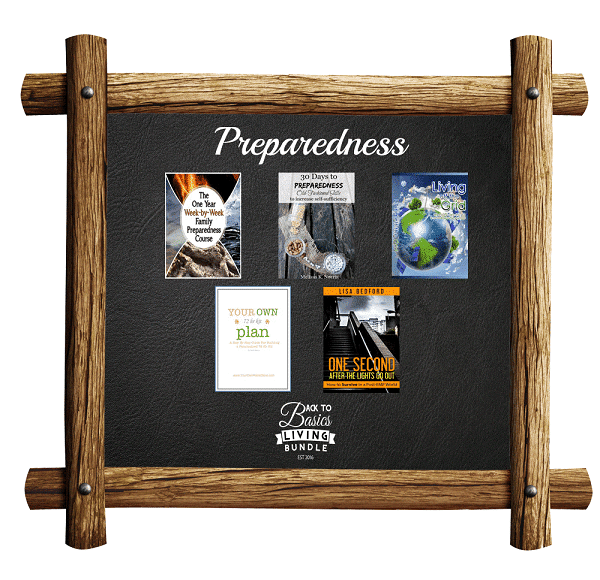 a collage of products available in the Preparadness section of the Back to basics living bundle