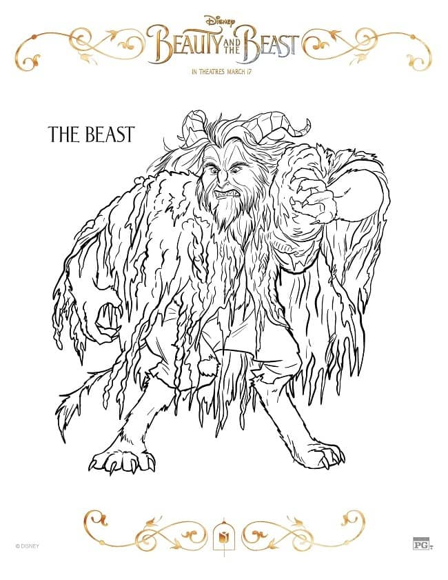 And The Beast Printable Coloring Pages Free