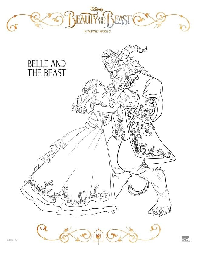 Coloring Pages Beauty And The Beast : Free printable beauty and the beast coloring pages