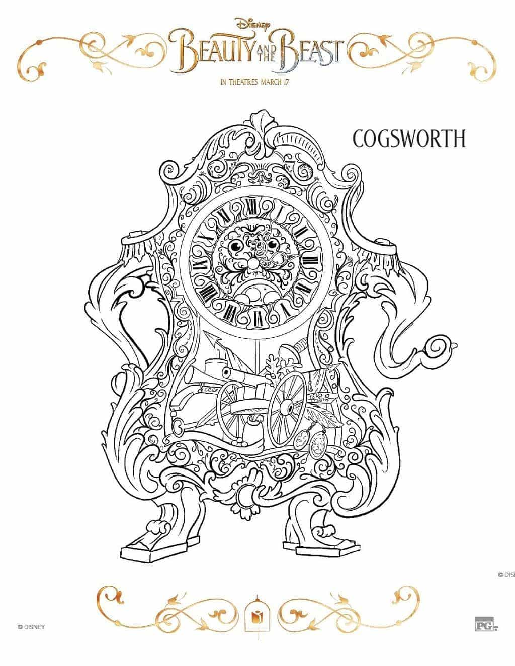 free printable beauty and the beast coloring pages
