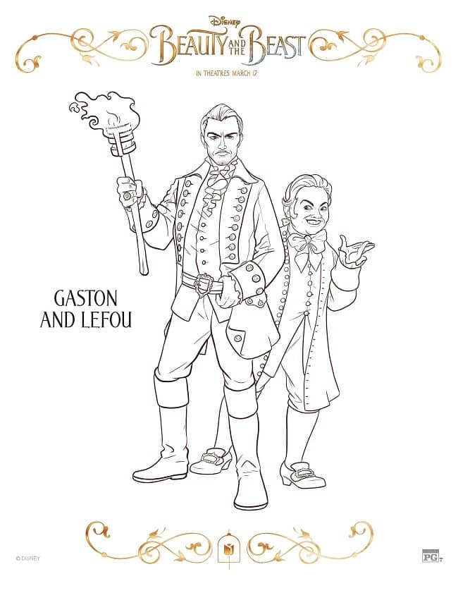 Gasto and Lefou coloring page