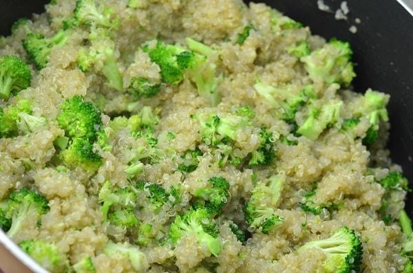 broccoli and quinoa in a skillet