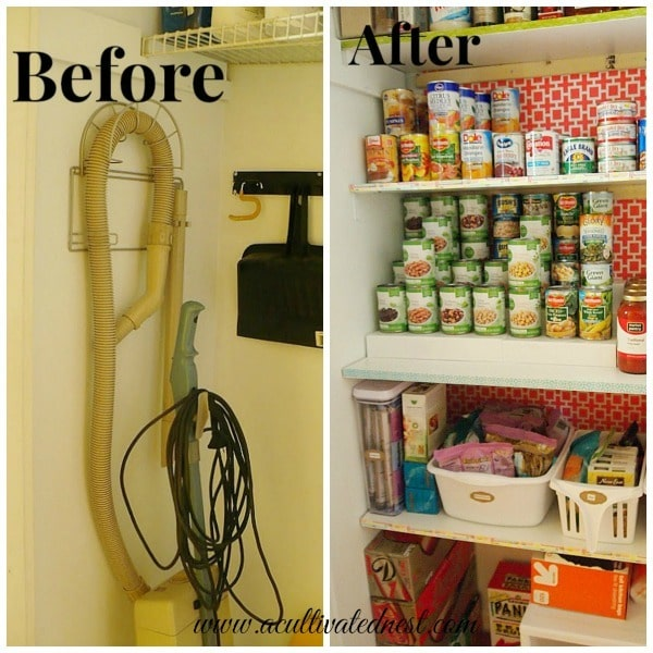 a picture of a pantry before it's organized and a picture of a pantry after it's organized