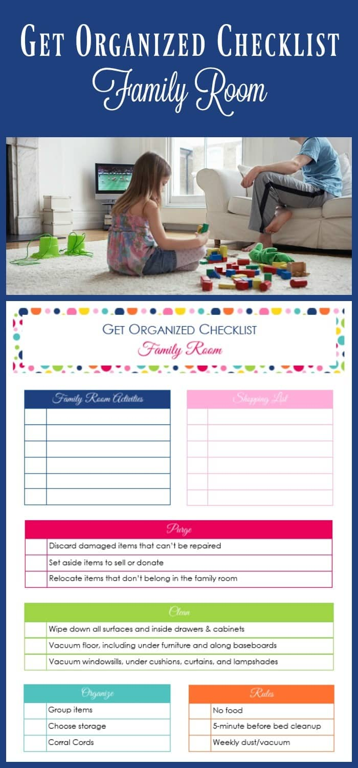 Lots of simple ideas for getting and keeping your family room organized. The free printable get organized checklist is just icing on the cake! So thankful for these weekly checklists that are helping me organize my whole life!