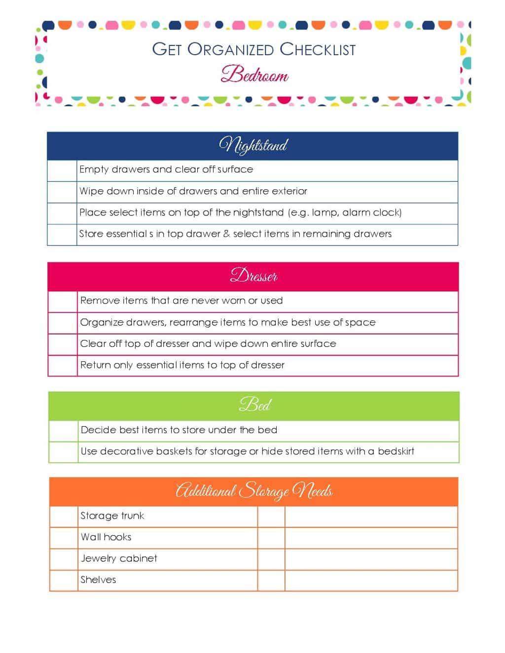 printable Get Organized Checklist for Your Bedroom