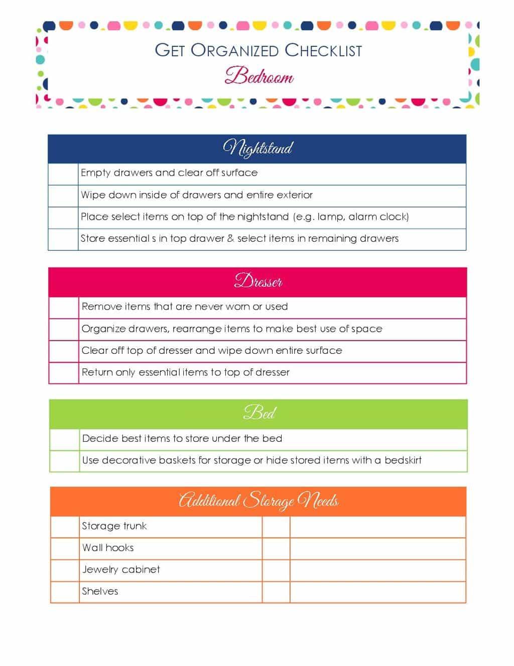 printable Get Organized Checklist Bedroom