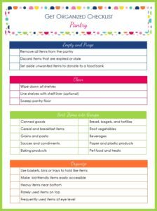 Get Organized Checklist for Your Pantry