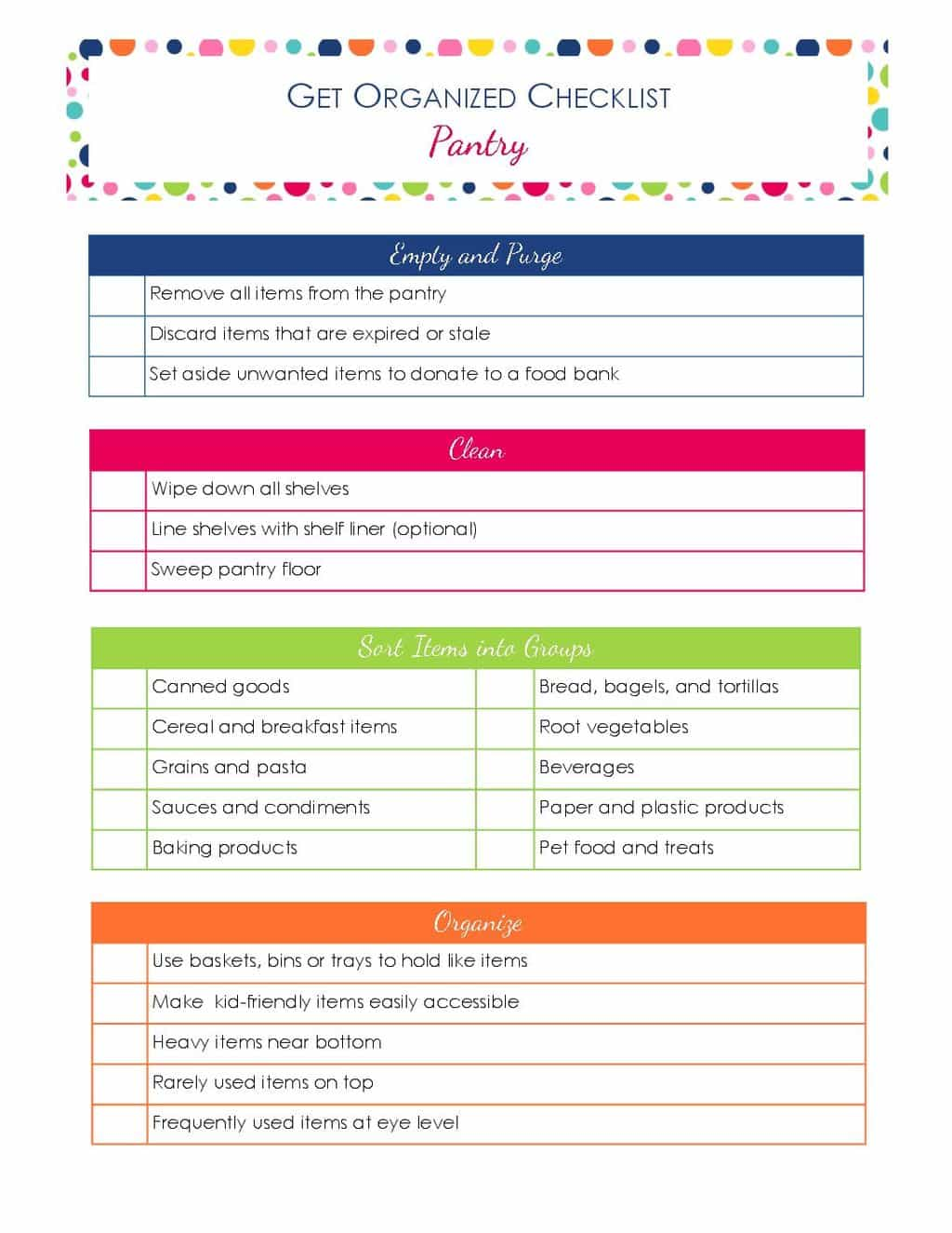 I almost had fun organizing my pantry using this get organized checklist for your pantry! It breaks the process down into simple steps and the post is full of helpful tips too!