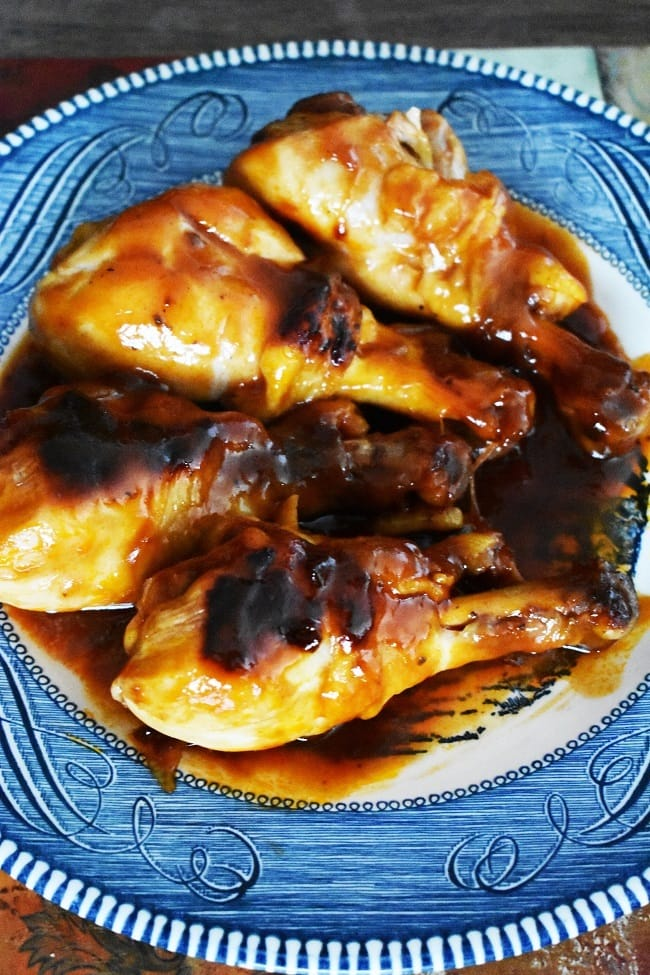 Instant Pot BBQ Chicken on a blue plate