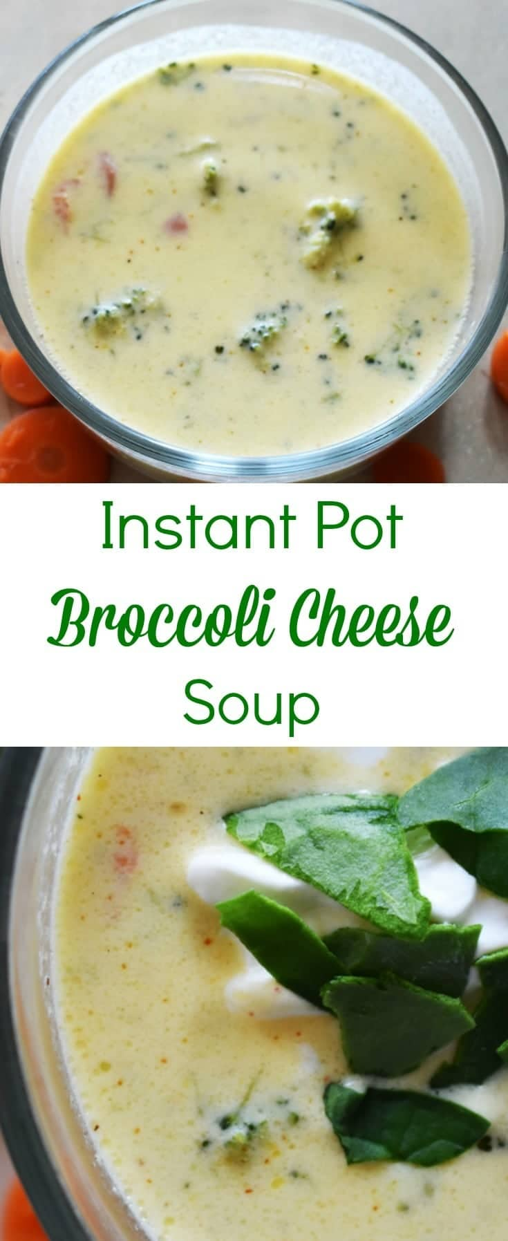 My favorite soup made even better now that I can make it in my Instant Pot! This Instant Pot broccoli cheese soup is a yummy, but super easy meal. #instantpot #pressurecooker