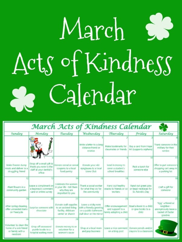 Calendar Ideas For Each Month For Boyfriend : March acts of kindness calendar