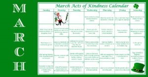 March Acts of Kindness Calendar