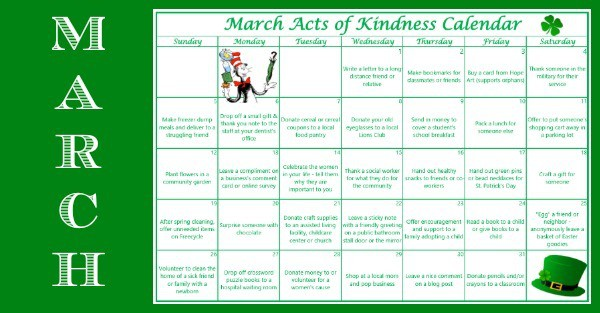 Monthly Calendar Health Awareness : March acts of kindness calendar