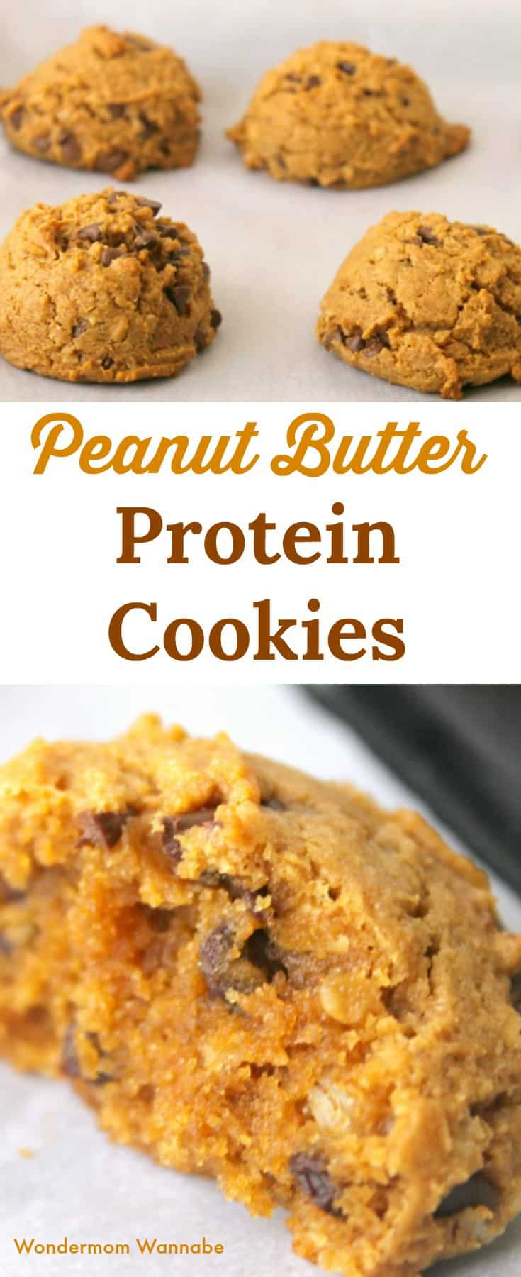 These No-Flour Peanut Butter Protein Cookies are healthy and delicious! Loaded with protein and fiber, they're the perfect guilt-free dessert. #protein #cookies #peanutbuttercookies #guiltfreedessert via @wondermomwannab