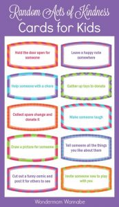 Free Random Acts of Kindness Cards for Kids