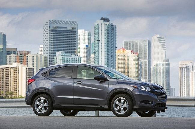 2017 Honda HR-V with the city in the background