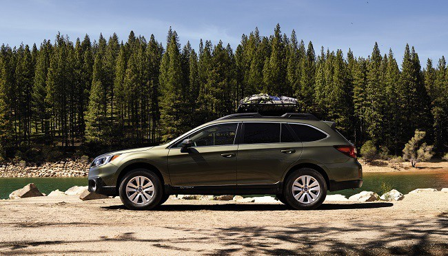 2017 Subaru Outback with lots of trees in the background