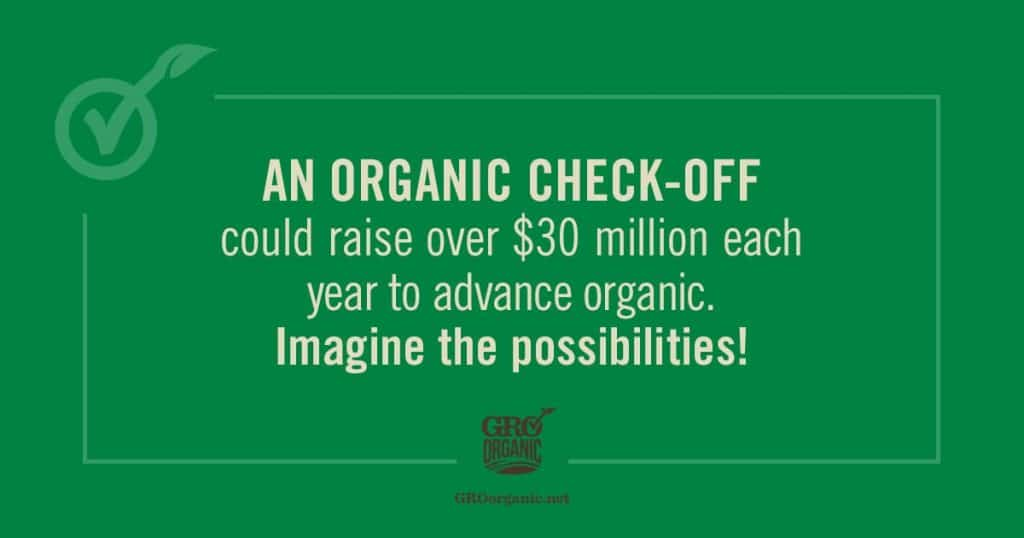a green background with text reading An Organic check-off could raise over $30 million each year to advance organic. Imagine the possibilities