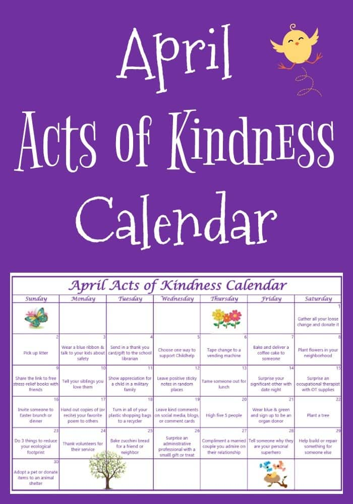 Calendar Monthly Themes : April acts of kindness calendar
