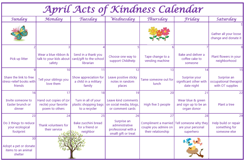 April Acts of Kindness Calendar