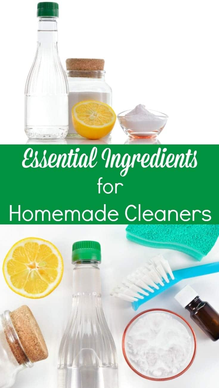 a collage of ingredients to make homemade cleaners with title text reading Essential Ingredients for Homemade Cleaners