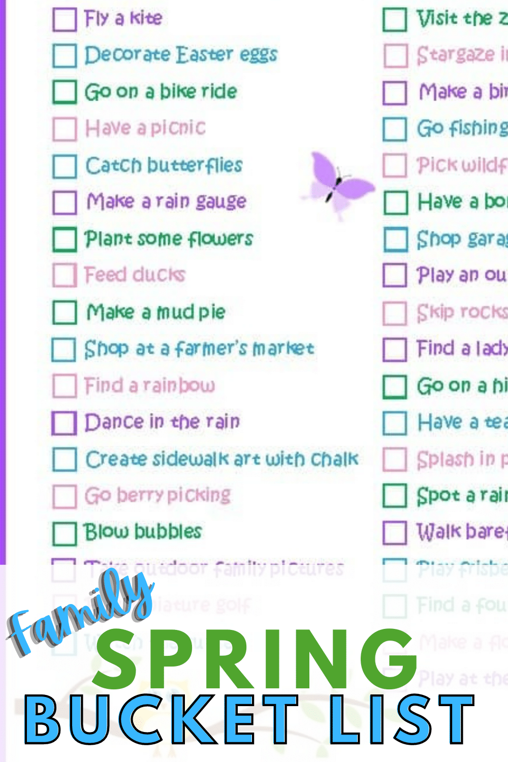 This Spring Bucket List is full of fun ideas the whole family will enjoy so you can get outdoors and enjoy the beautiful weather. #bucketlist #spring #outdooractivities #forkids via @wondermomwannab