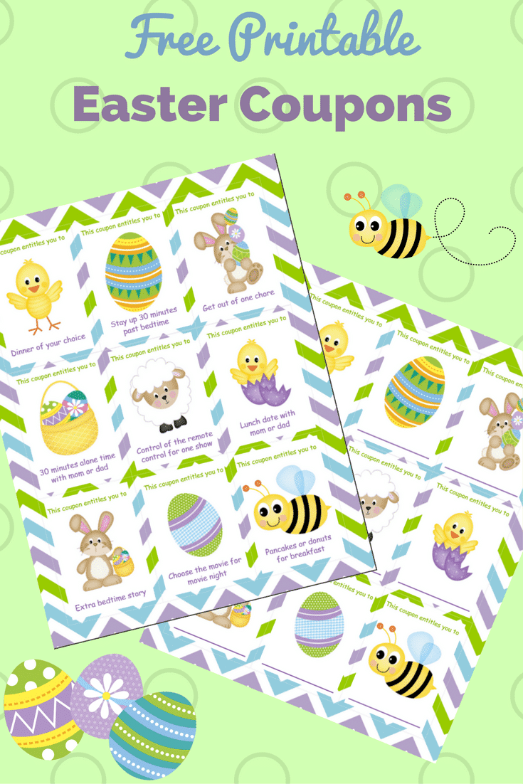 Printable Easter Coupons for Kids on a green background with Easter eggs and a bee graphic with title text reading Free Printable Easter Coupons