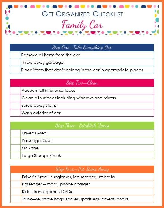 printable Get Organized Checklist Family Car