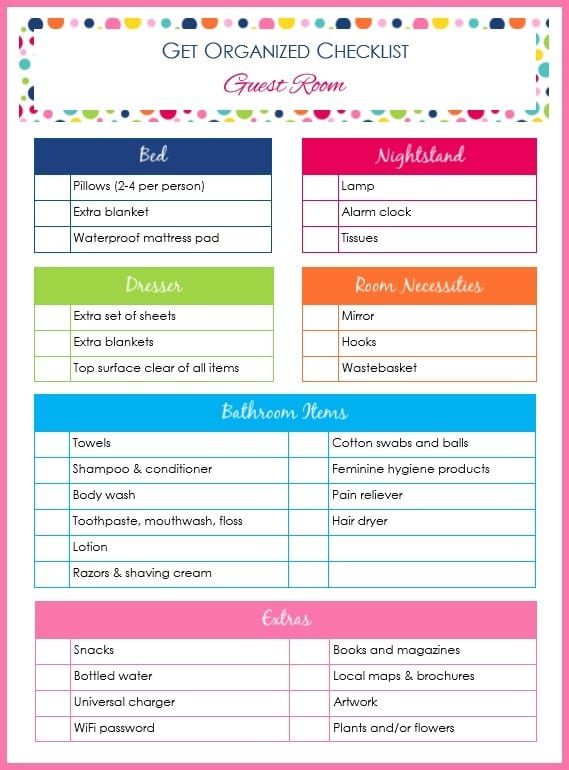printable Get Organized Checklist Guest Room