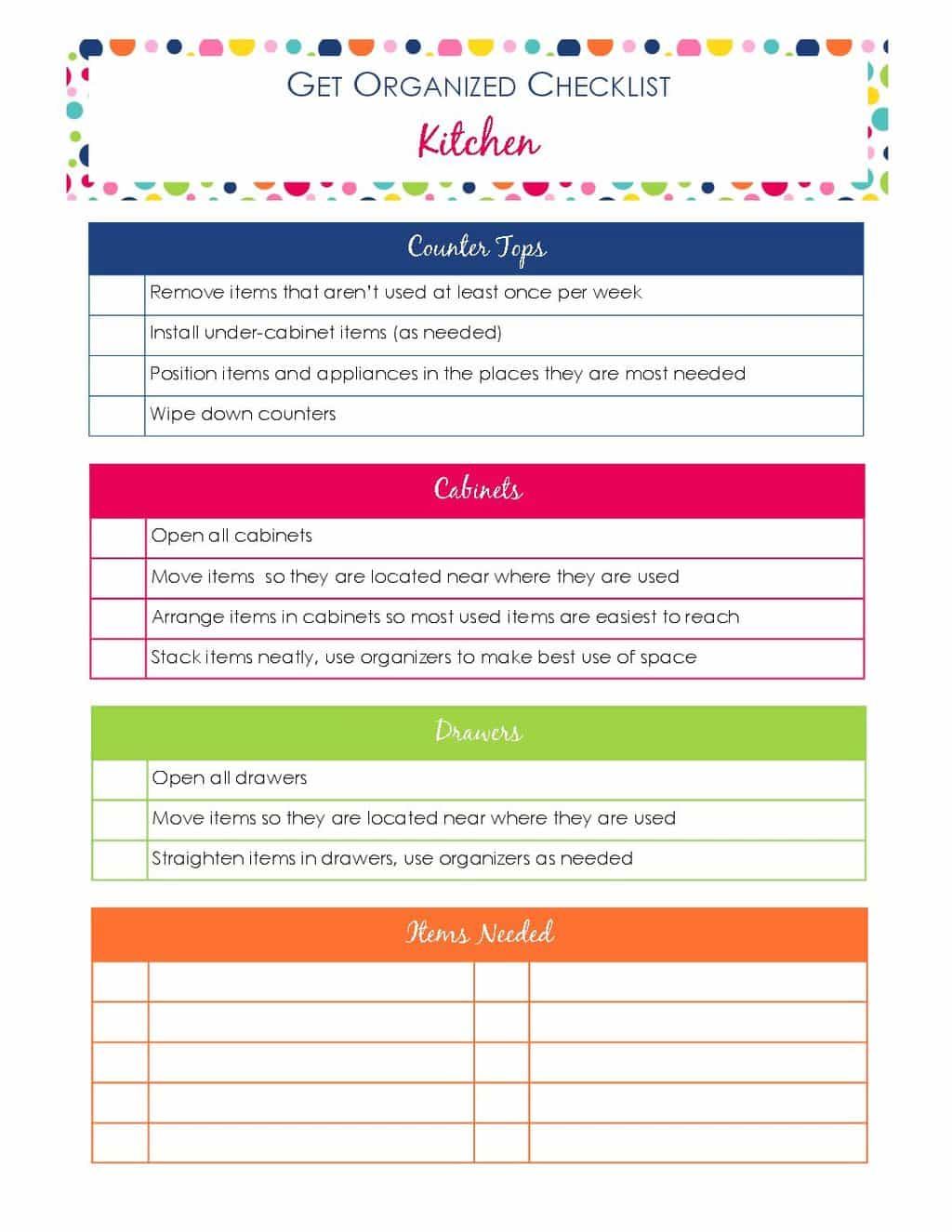 printable Get Organized Checklist for Your Kitchen