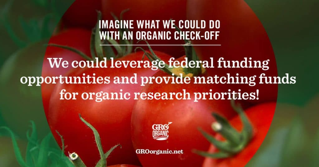 several tomatoes with text reading we could leverage federal funding opportunities and provide matching funds for organic research priorities