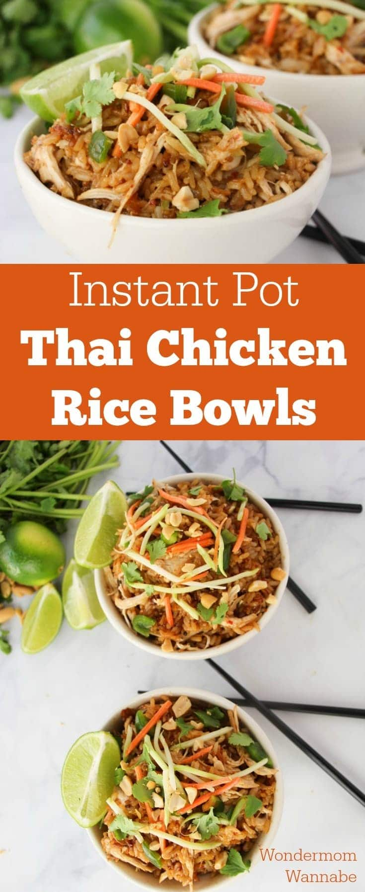 a collage of chicken and rice in white bowls next to black chopsticks on a white counter with title text reading Instant Pot Thai Chicken Rice Bowls