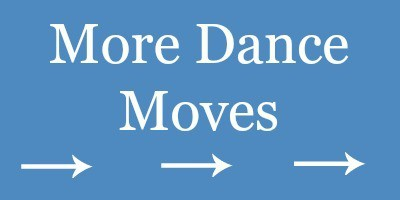 rectangle with a blue background with white arrows on it and text reading More Dance Moves