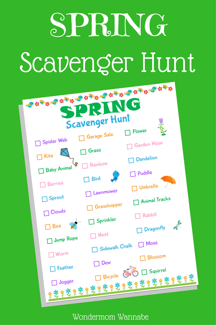 picture regarding Printable Scavenger Hunt for Kids called Printable Spring Scavenger Hunt