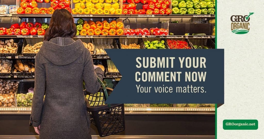 a lady shopping in the produce section of the grocery store with title text reading submit your comment now your voice matters