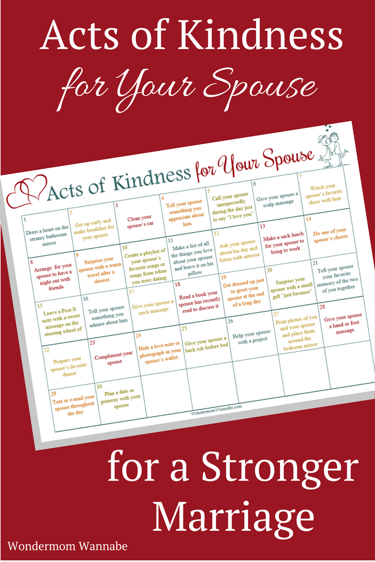printable acts of kindness for your spouse calendar on a red background with title text reading Acts of Kindness for Your Spouse for a Stronger Marriage