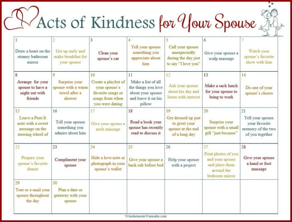 printable acts of kindness for your spouse calendar