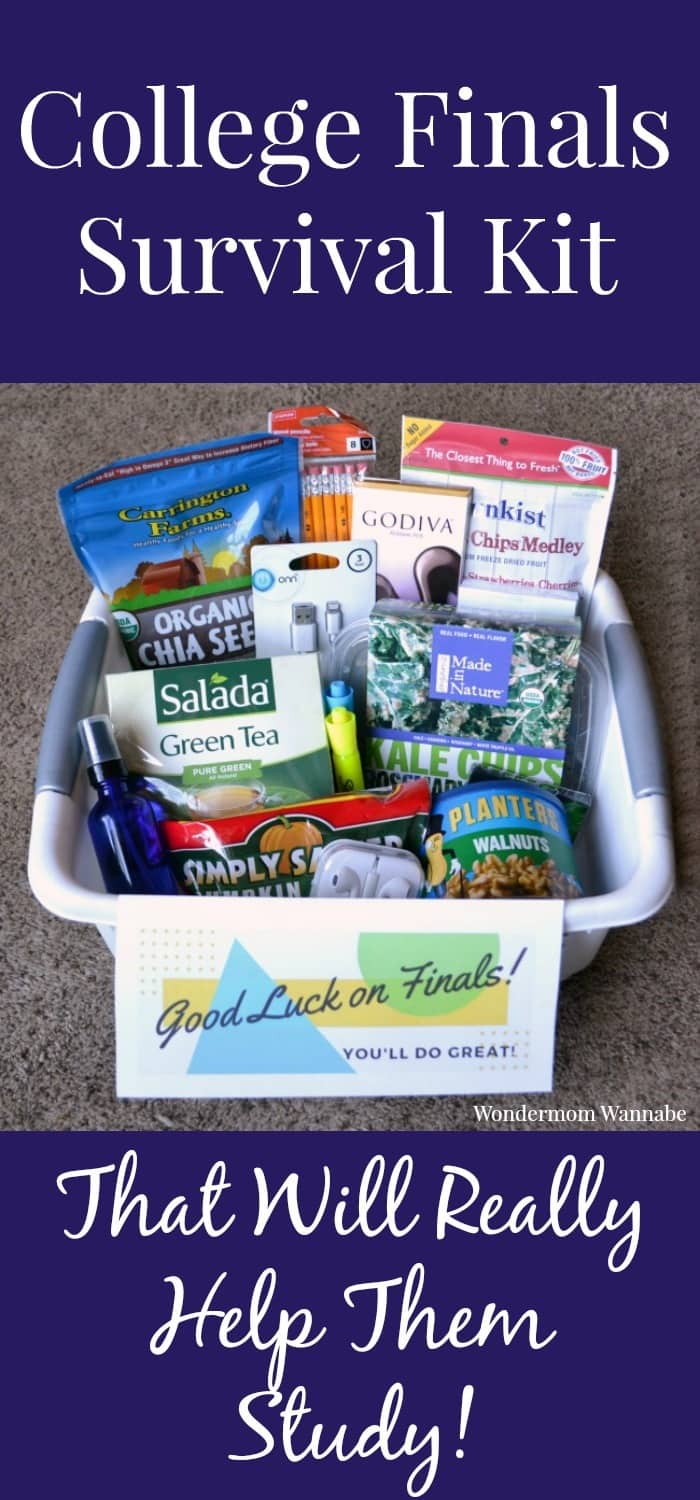 Some really helpful advice on snacks and items for a college finals survival kit to actually make it easier for students to focus, memorize, and learn.
