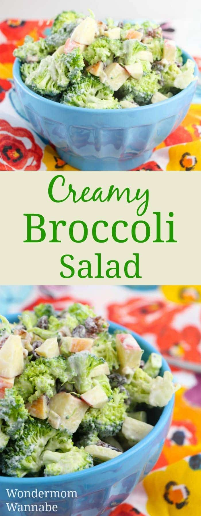 a collage of creamy broccoli salad with title text reading Creamy Broccoli Salad