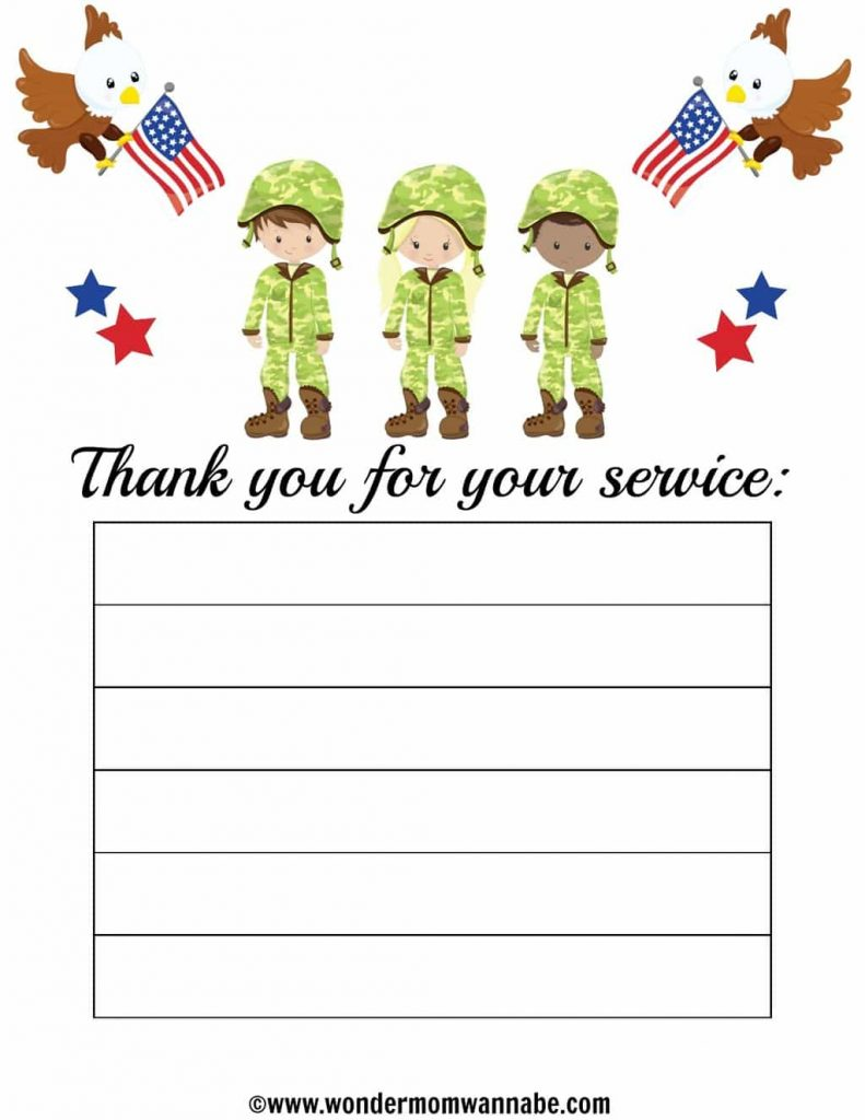 a printable with graphics of eagles, American flags, kids in camouflage uniforms, stars and lines on it with the words Thank you for your service