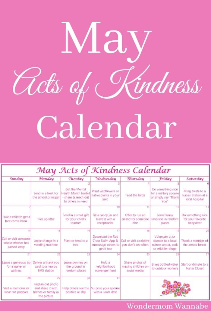 A free printable calendar with acts of kindness ideas based on the themes of May.