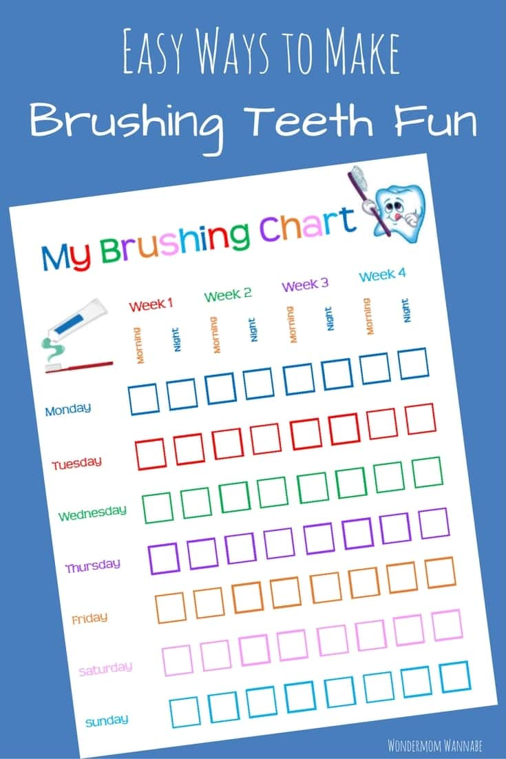 Easy and practical ways to get kids to WANT to brush their teeth. The tooth brushing chart printable is a great bonus too!