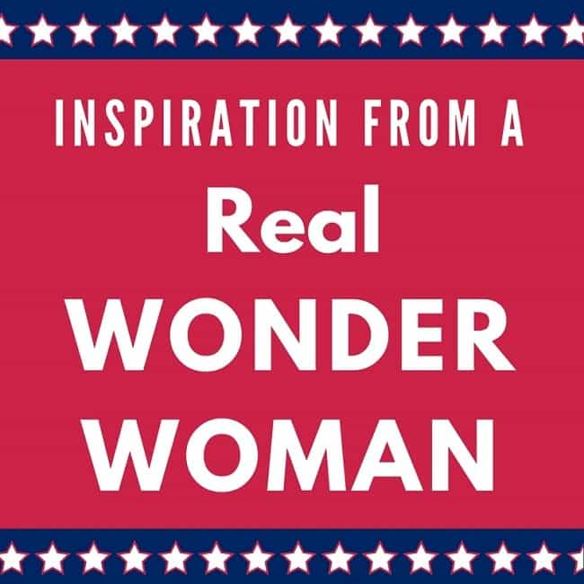 text reading Inspiration From a Real Wonder Woman on a red background with a blue border with white stars