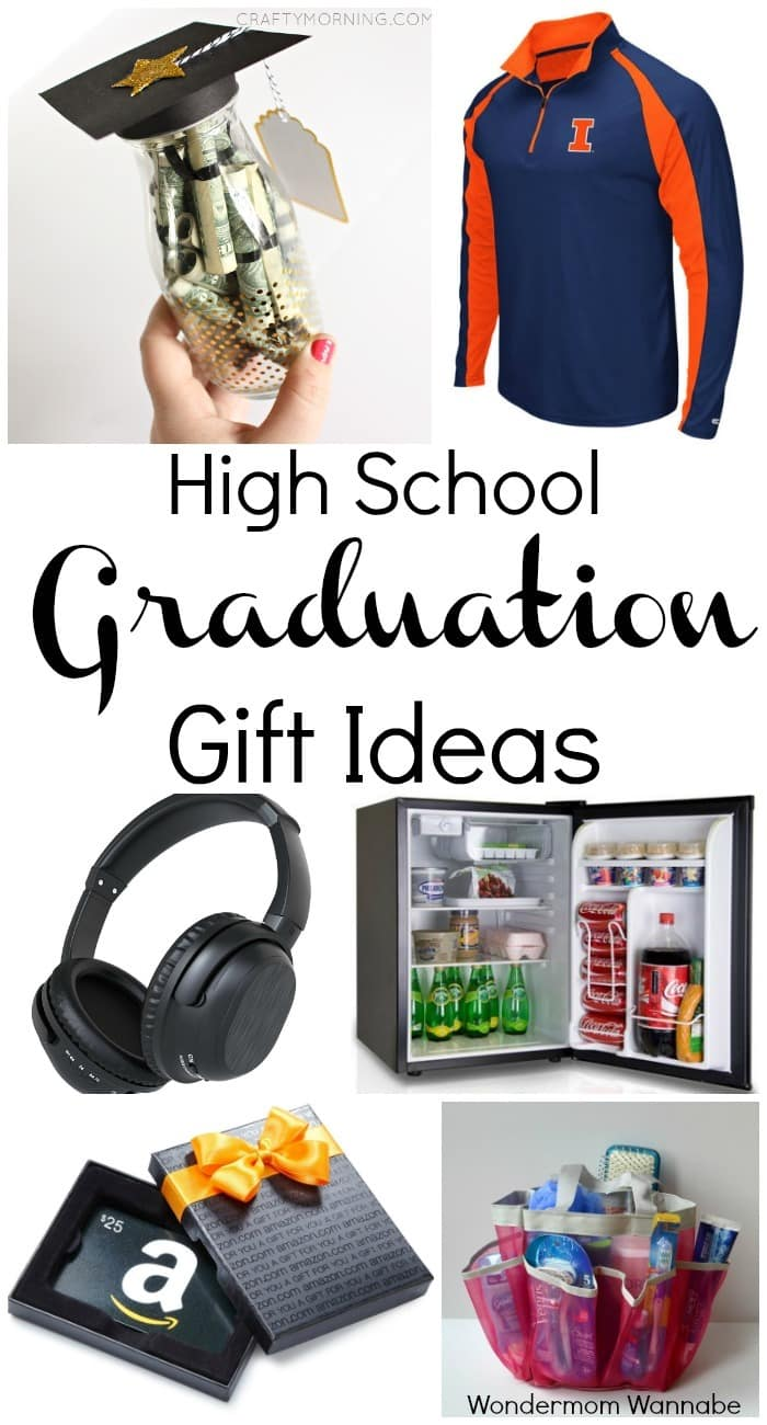 a collage of six different gift ideas with title text reading High School Graduation Gift Ideas